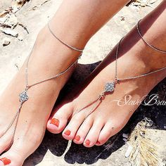 antique silver barefoot sandals anklet foot jewelry faceted ball chain with flower