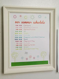 Jen's Tips - lots of tips for keeping kids organized - love this summer schedule