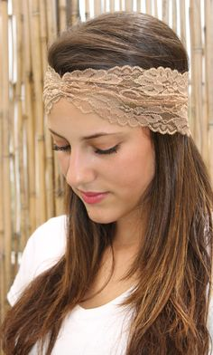 Light brown Headband Boho style Elastic Headband Wide by TopStyle1 1a913bfe18a