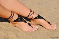 Crochet negro sandalias Descalzas joyería regalo de la Dama