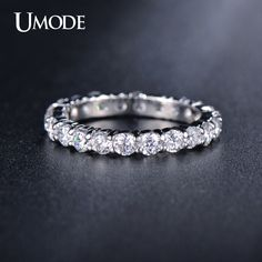 est White Gold Plated 3mm 0.1 Carat Round CZ Simulated Diamond Wedding Eternity Rings Bands For Women Jewelry AUR0279
