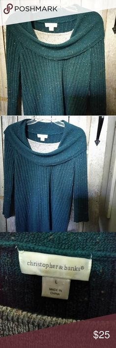 Blue Green Speckled Cowl neck sweater Blue green with speckles of other colors Christopher & Banks Sweaters