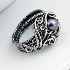 Freshwater Peacock Pearl and Fine Silver Ring - Ocean's Breath. $130.00, via…