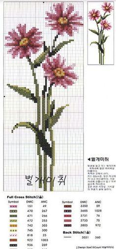 Flowers 4 of 9 Cross Stitch Fruit, Cross Stitch Bookmarks, Just Cross Stitch, Cross Stitch Borders, Cross Stitch Flowers, Cross Stitch Charts, Cross Stitch Designs, Cross Stitching, Cross Stitch Embroidery