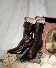 Edwardian Ladies Brown Leather Boots With Louis Heel by PruAtelier, $150.00