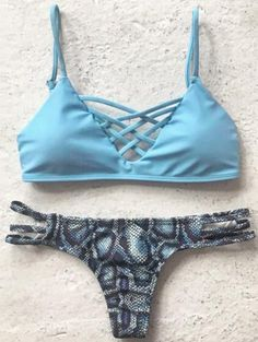 951e58088f Printed Spaghetti Straps Bikini Set LIGHT BLUE: Bikinis | ZAFUL Cute Bikinis,  Cute Swimsuits