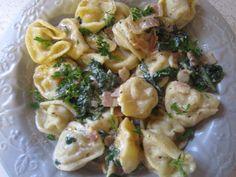 Pelmeni (Russian dumplings) in a creamy garlic sauce