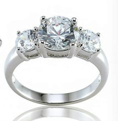 Cubic Zirconia and Rhodium-Plated Brass Engagement Past Present Future Ring
