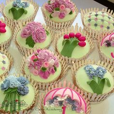 Spring Garden Cupcakes with Picket Fence Wrappers
