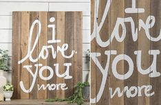 "Our Huge ""I LOVE YOU MORE"" Wood Sign is beautifully crafted from wood with a distressed finish. Love You More, My Love, Distressed Signs, Wood Painting Art, Cheap Apartment, Bohemian Style Bedrooms, Blue Pictures, Gothic Accessories, Fall Signs"