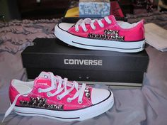 Hot pink womens Converse All Stars lowtop with studs BreezyReign.etsy.com $105.00