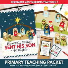"""SAVE BIGby purchasing this kit in ourDecember 2017 Sharing Time Combo Pack! This LDS Sharing Time teaching package is designed specifically for December – Week 1. We have provided wonderful teaching tools and suggestions to help your LDS Primary understand how,""""Heavenly Father Sent His Son To Earth."""" Included in this package is over 25 pages of sharing time teaching suggestions and helps! You will love the custom illustrations, meaningful learning activities, and more! This is a DIGITAL…"""