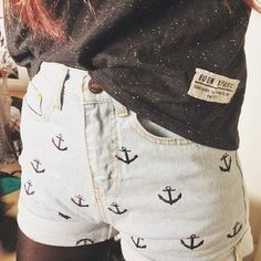 high waisted anchor shorts