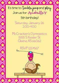 Items Similar To Gymnastics Birthday Invitation On Etsy