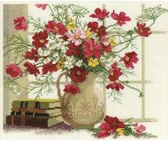 RTO Blooming Cosmos - Cross Stitch Kit. Cross Stitch Kit featuring flowers in a vase. This Cross Stitch Kit comes complete with 14 Count Zweigart Aida, pre-sort