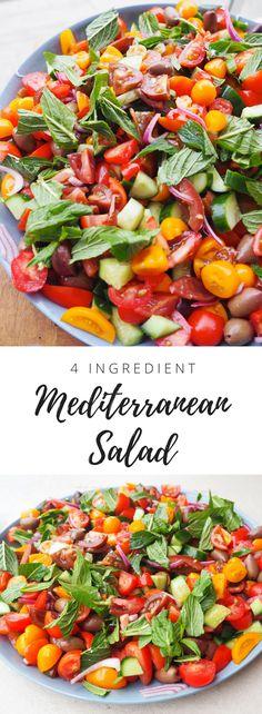 Best Mediterranean Salad Healthy recipe - Lyndi Cohen The Nude Nutrtionist Easy Healthy Dinner Recipes Easy Salads, Easy Healthy Dinners, Healthy Snacks, Dog Food Recipes, Salad Recipes, Chicken Recipes, Healthy Recipe Videos, Healthy Recipes, Vegetarian Recipes