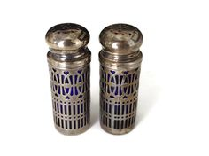 Salt and Pepper Shaker Silver Plated Overlay Cobalt Blue Bottle Hong Kong UK Patent 1014132