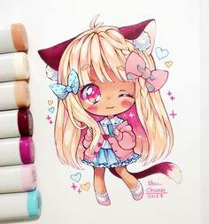 Nya~ Kawaii Chibi, Cute Chibi, Kawaii Art, Kawaii Anime, Manga Drawing, Manga Art, Anime Art, Kawaii Drawings, Cute Drawings