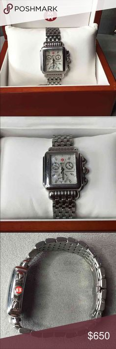 Michele Deco Watch with diamond time markers Michele Deco Watch In very good used condition. Mother of Pearl face with diamond time markers. Battery works great, has all links on bracelet. Comes with Michele wooden box.   PREFER TO SELL (Listed on Merc for less!!)  but will set $850+ trade value for the right items (Authentic Louis Vuitton keepall, Damier Ebene, and fine jewelry). Michele Accessories Watches