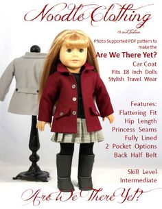 Are We There Yet? Car Coat Pattern  Ive used this jacket pattern in some of my cutest outfits Perfect for Paris Brittany Bound Tis the Season. Ferry to Mull   It Features: Trendy Hip Length Front and Back Princess Seams Fully Lined 2 Pocket Options Half Back Belt   You will recieve by download the 22 page pdf pattern with photo supported instructions to make the Are We There Yet? Car Coat  The pattern is designed to use light weight woven fabrics. Ive successfully used Light Weight suitings…