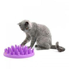 Menangkap Interaktif Keras Silicone Cat Kitten Lambat Pakan Makanan Non Slip Anti Meneguk Pengumpan Hewan Peliharaan Mangkuk Gatos
