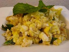 Scrambled Eggs with Mint - Recipe - In this easy and quick recipe, the fresh flavor of mint turns simple scrambled eggs into a delicious meal. A great idea for a nutritious and high in proteins dish to enjoy for breakfast or dinner.
