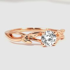 14K Rose Gold Budding Willow Ring // Set with a 0.53 Carat, Round, Super Ideal Cut, E Color, IF Clarity Diamond #BrilliantEarth