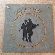 Golfer's Welcome Slate – Vintage Style Primitive Antiques, Antique Art, Kitsch, Welcome, Slate, Signage, Pin Up, Auction, Vintage Fashion