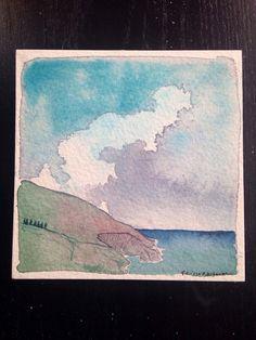 $38 -Original Abstract Valentine Big Sur by ElissaSueWatercolors