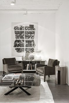 MERIDIANI I FOSTER SOFT small armchairs I MILLER low table I GONG low table I HARRIS sideboard I LALIT rug