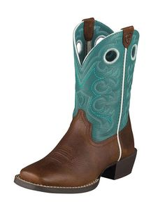 ARIAT~~~Kid's Crossfire Boot - Brown Oiled Rowdy/Turquoise  (I want this lots! luv the look)