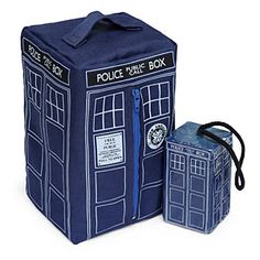"""This cute TARDIS soap on rope comes in an even cuter """"washbag."""" We think it's probably for carrying your stuff to and from the shower when you're in a shared housing situation like a dorm, but we immediately thought of other uses."""