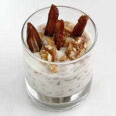 Moroccan Goat Yogurt with Dates and Preserved Lemon | Shockingly Delicious.com  #walnuts #sosimplesogood #CaliforniaWalnuts