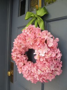 Pink Hydrangea Wreath: Can add a letter in the center. ? also could use burlap as the hanging part instead of ribbon...?? make for Michele's birthday...