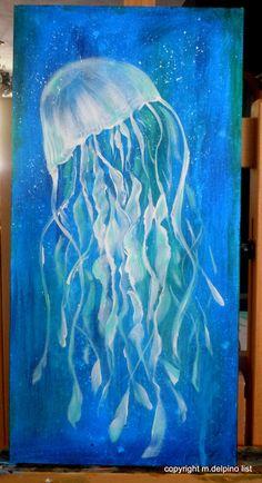 Jellyfish painting canvas beach house nautical wall art blue white 10x20 sea ocean