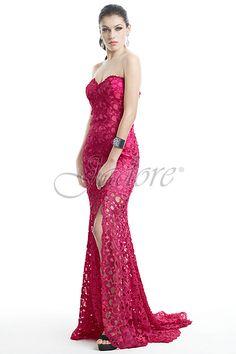 J5070 in Fuchsia, Salmon, Ivory & Black  #Jadore #jadoreevening #bridal #australianbridal #australianwedding #designer #luxurygown #eveningwear #lace #holey #splitskirt #strapless #formalwear #prom #schoolformal