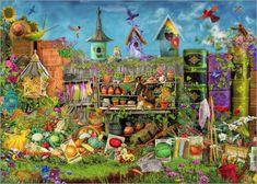 """Poster """"Sonniges Vergnügen im Garten"""" von Aimee Stewart, MGL Licensing - #kinderzimmer #wimmelbild #kidsroom #bunt"""