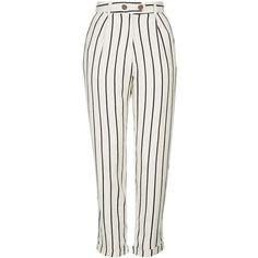 TopShop Striped Mensy Peg Trousers ($80) ❤ liked on Polyvore featuring pants, jeans, topshop, topshop pants, white trousers, striped trousers, rayon pants and white stripe pants