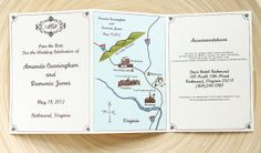 Folded Wedding Program, Invitation or Save The Date w/ Custom Map Foldout by PaperFreckles #illustratedmaps #weddingprograms #weddinginvitations