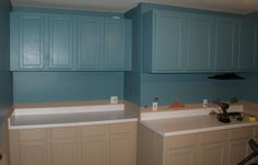 The cabinets, painted and installed.