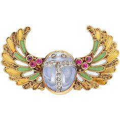 Preowned Egyptian Revival Enamel Sapphire Ruby Scarab Brooch ($12,973) ❤ liked on Polyvore featuring jewelry, brooches, brooch, egypt, blue, blue sapphire jewelry, cabochon jewelry, ruby jewellery, blue brooch and egyptian jewelry