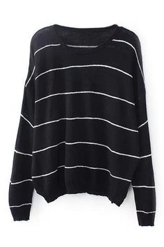 Shop the affordable Black Round Neck Long Sleeve Striped Sweater from Tops collection that inspired by most covetable trends. Save your budget by purchasing your Black Round Neck Long Sleeve Striped Sweater here! Trendy Outfits, Cool Outfits, Fashion Outfits, Fashion Clothes, Loose Knit Sweaters, Striped Sweaters, Black Jumper, Latest Street Fashion, Types Of Fashion Styles