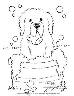 FREE COLORING SHEET DOWNLOAD Bath Time NEWFOUNDLAND AMY BOLIN