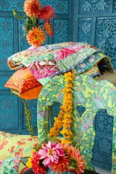 We love all the warm colors in this Amy Butler photo Warm Colors, Colours, Amy Butler Fabric, Magic House, Aqua, Fabulous Fabrics, Simple Pleasures, Handmade Art, Life Is Beautiful