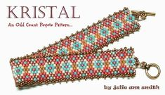 You are purchasing an odd count peyote digital pattern....NOT THE ITEM IN THE PHOTO!! A JULIE ANN SMITH SKINNY MINI ORIGINAL DESIGN... KRISTAL was named and inspired by my sweet daughter in law, of the same name! Her simplicity of life and her gentleness are hopefully shown