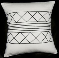 African Tribal Pillow Cream Black Applique X Xhosa Handmade Design Handmade Cushion Covers, Xhosa, Tribal Dress, Geometric Pillow, African Design, African Fabric, Handmade Design, Surface Design, Pillow Inserts