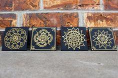 4x4 Hand Painted Canvas: Gold Mandala on Black [Set of 4]