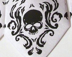 Black necktie black pearl skull damask skull tie by RokGear
