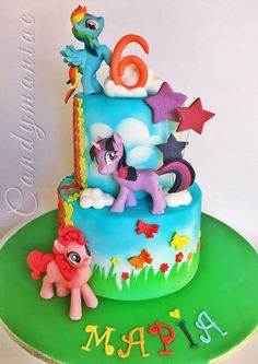 Free, My little pony cake by Mania M. - CandymaniaC printable coloring book pages, connect the dot pages and color by numbers pages for kids. Bolo My Little Pony, Bolo Sofia, Rainbow Dash Cake, My Little Pony Birthday Party, Chocolate Mud Cake, 4th Birthday Cakes, Novelty Cakes, Swiss Meringue, Pinkie Pie Cake
