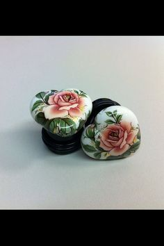 White Hearts with Flowers Earrings / Plugs by SpadesandSparrows, $14.00